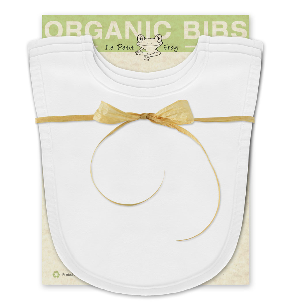 White Baby Bib 100 Organic Cotton 3 Pack Le Petit Frog Organic